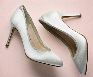 Rainbow Club Shoes, BILLIE, Shimmer Court Shoes, Ivory