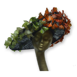 butterflies, green, orange, black base, statement, headpiece, hat
