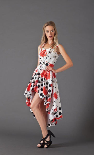 Samuel Dong Print Duppioni High-Low Bubble Dress with Self Belt, Flr/Dots