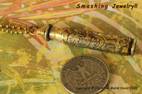 Etched Bullet Shell Stash Vial Brass Casings, Container for Pet Ashes, MMJ, Funerary Urn, Stash Vial, Secret Stash Necklace