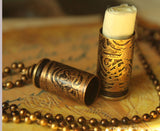 Stash Vial Container made from Etched Bullet Shell Brass Casing for Pet Ashes, MMJ, Funerary Urn, Secret Stash Necklace