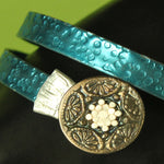 Blue Gypsy Bangle Bracelet with smashed knitting needles and BUTTONS... steampunk gypsy jewelry