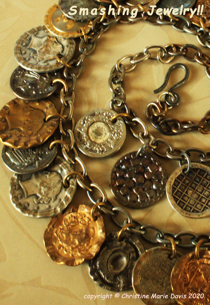 Gypsy Charms.... Smashed Button Necklace from vintage metal buttons on steel chain