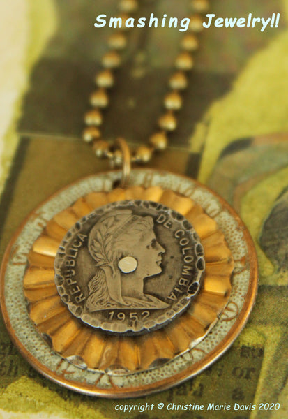 Lady of South America... Smashed Button Pendant on Chain made from vintage metal buttons and a Columbian Coin