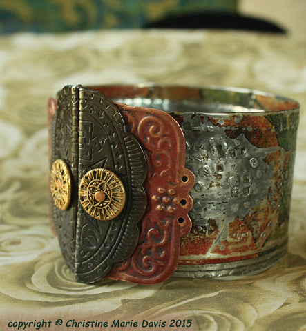 TIN Gypsy Copper Cuff bracelet from recycled tin and smashed buttons - boho style