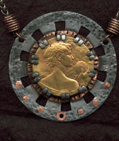 Dionysus Medallion Pendant from clock parts and vintage finds