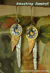 Feathered Wings...Smashed Metal Earrings from vintage salvaged metal