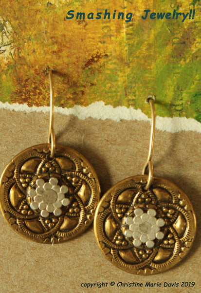 Floral Fantasy...Smashed Button Earrings from vintage recycled buttons