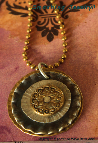 The Ruffled Gypsy...Smashed Button Pendant on Chain made from stacked  vintage metal buttons