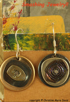 Geometric Abstractions ...Smashed Button Pendant on Chain made from stacked  vintage metal buttons