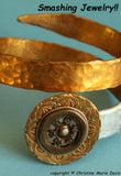 Golden Visions Smashed Button Pendant on Chain made from vintage metal buttons
