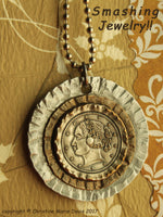 Lady Liberty Lives...Smashed Button Pendant Necklace on Chain
