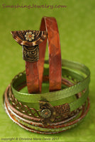 Gypsy Bangle Stack - smashed knitting needles - Peach, Lime Green and Copper - Boho Style Jewelry