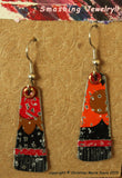 Mod Momma SMASHED Cookie Tin Earrings - Black, Red, and Orange Colors for your Gypsy Boho Style - Recycled Upcycled Jewelry