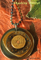 Musical Melody...Smashed Button Pendant on Chain made from stacked  vintage metal buttons