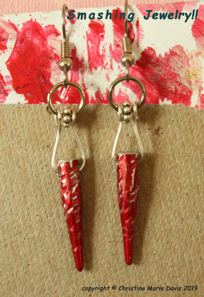 SALE Red Smashed Knitting Needle Tip Earrings - made from Recycled needles - Upcycled Jewelry
