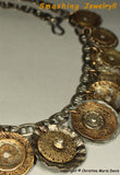 Silver Ladies.... Smashed Button Necklace from vintage metal buttons on silver chain