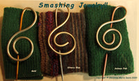 Knitting Needle Shawl Pin - Treble Clef Spiral Design - Jewelry for Knitters, Mom Grandma