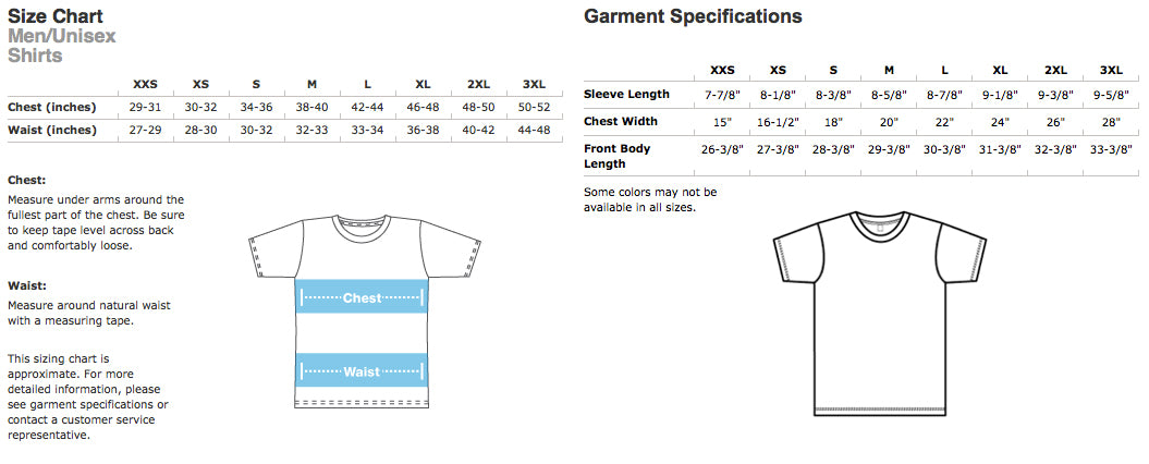 Sizing Chart Tees In The Trap