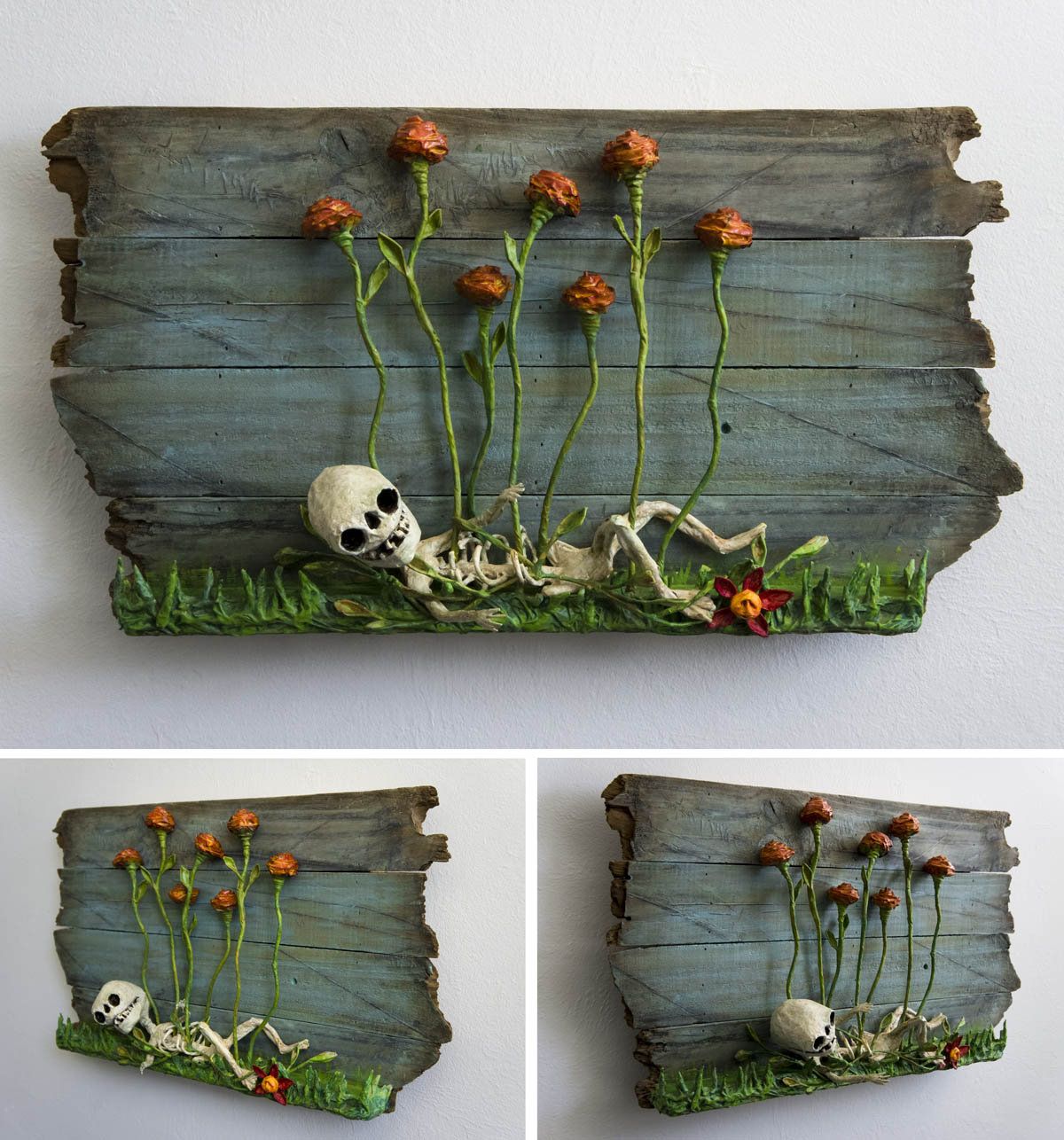 Skeleton and Roses wall sculpture