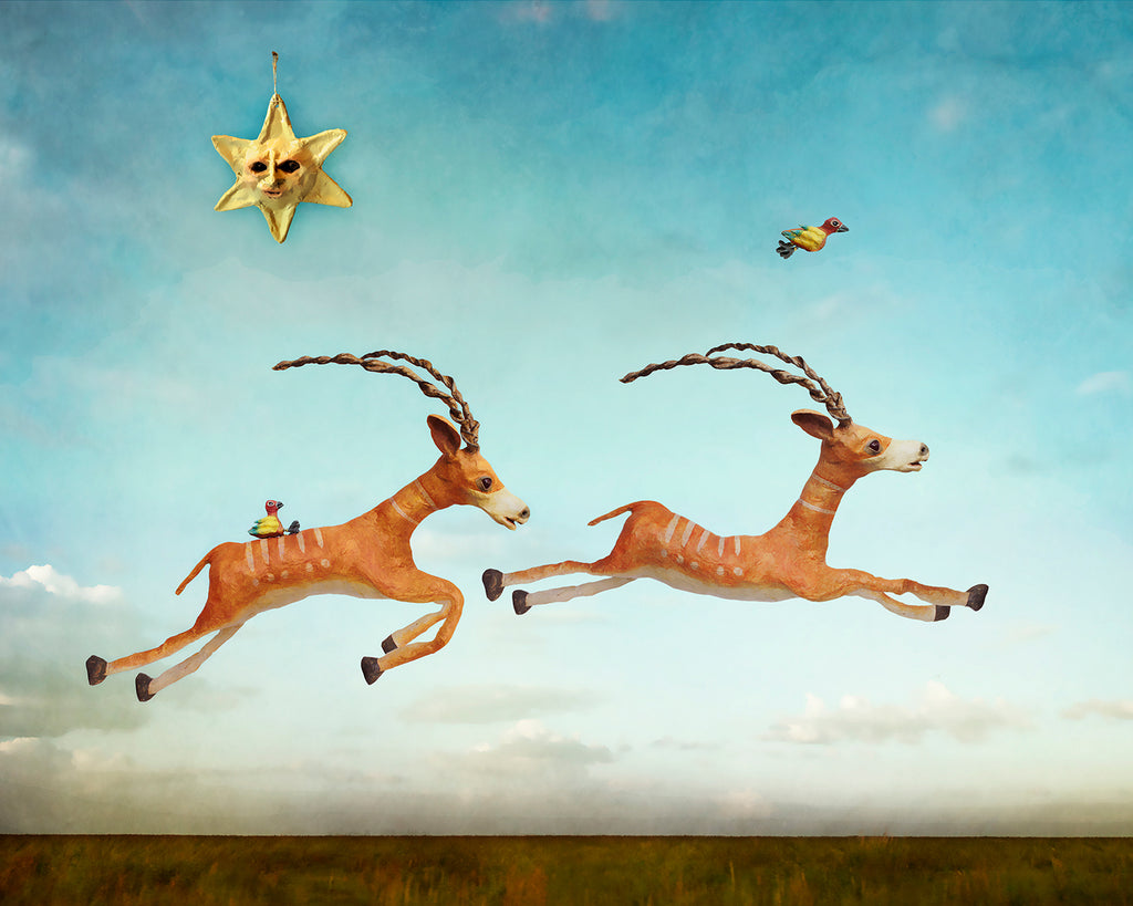 antelope running digital art illustrative photomontage