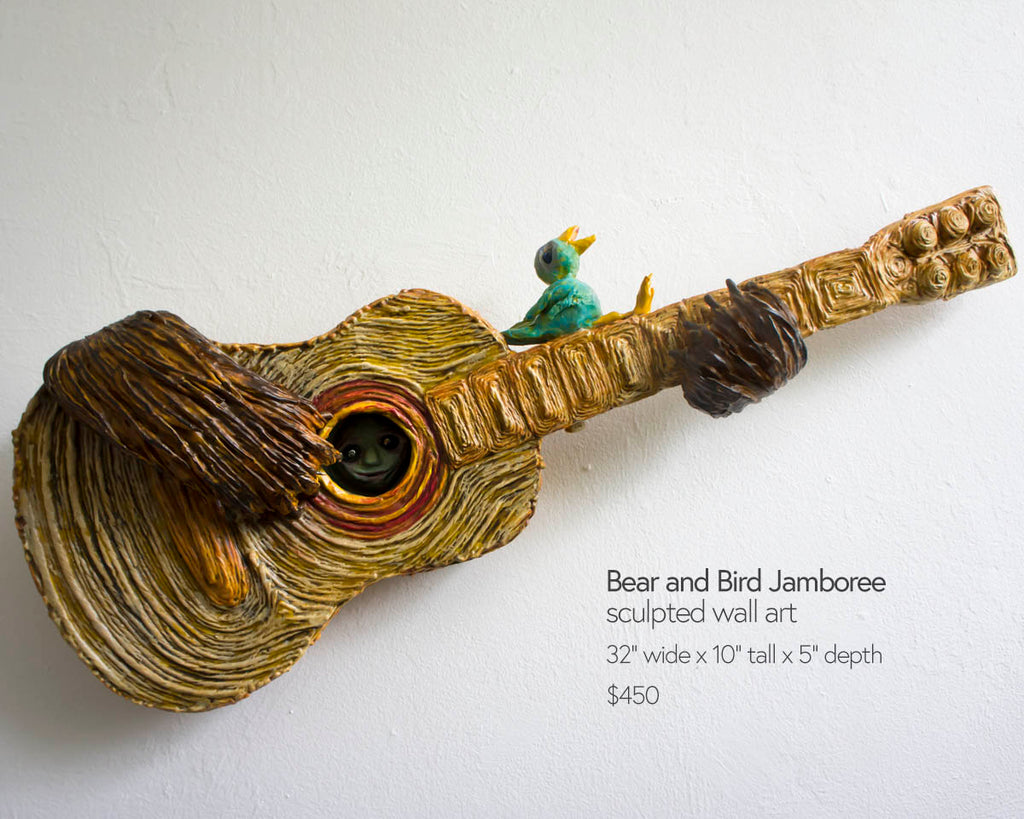 bear and bird jamboree sculpted guitar wall hanging