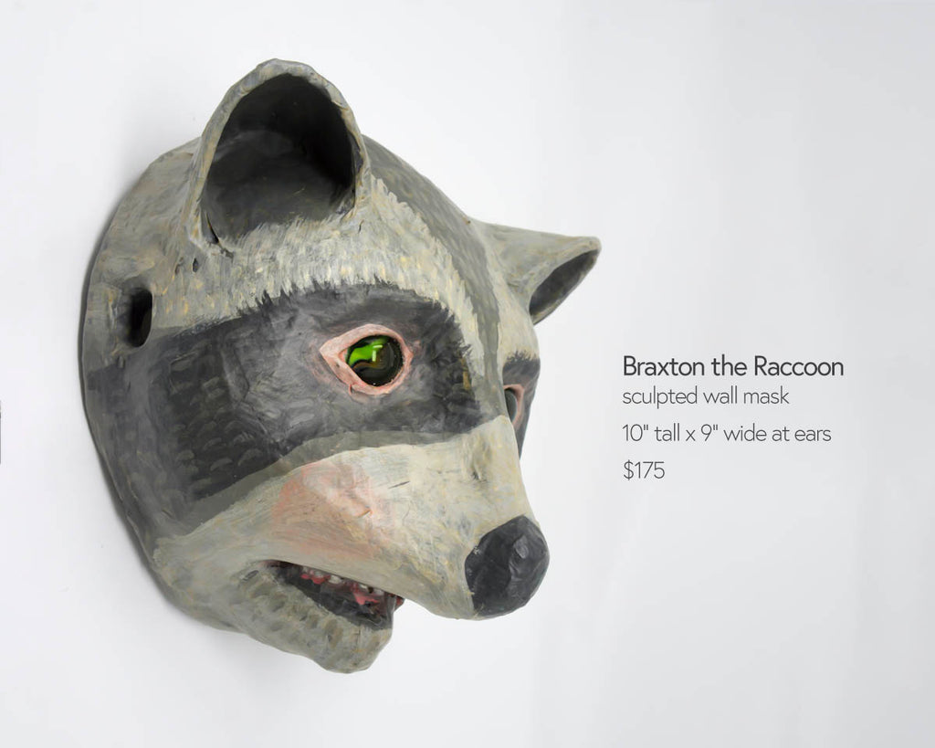 braxton the raccoon wall mask sculpture