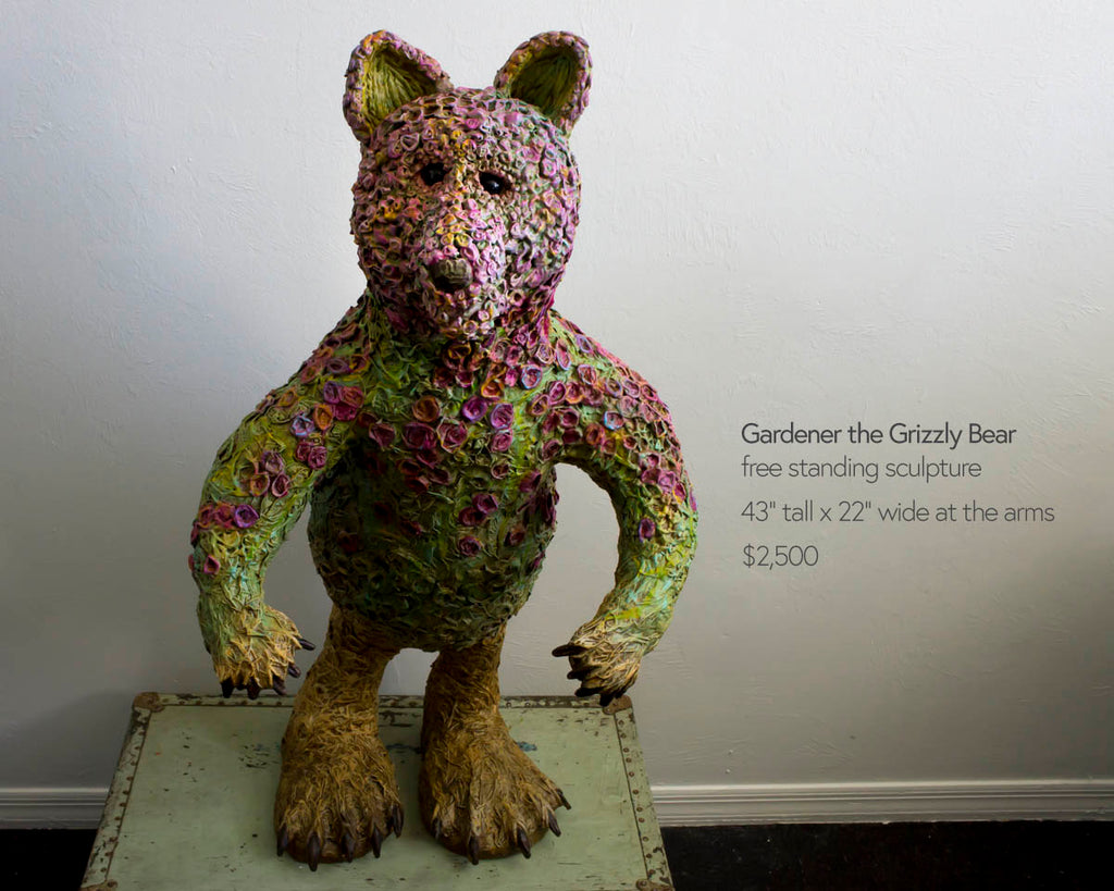 gardener the grizzly bear freestanding sculpture