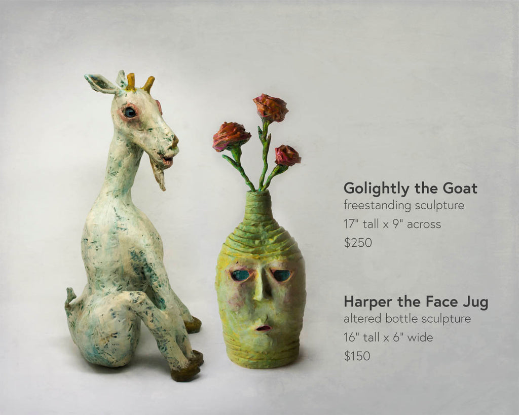 golightly the goat and harper the face jug sculpture