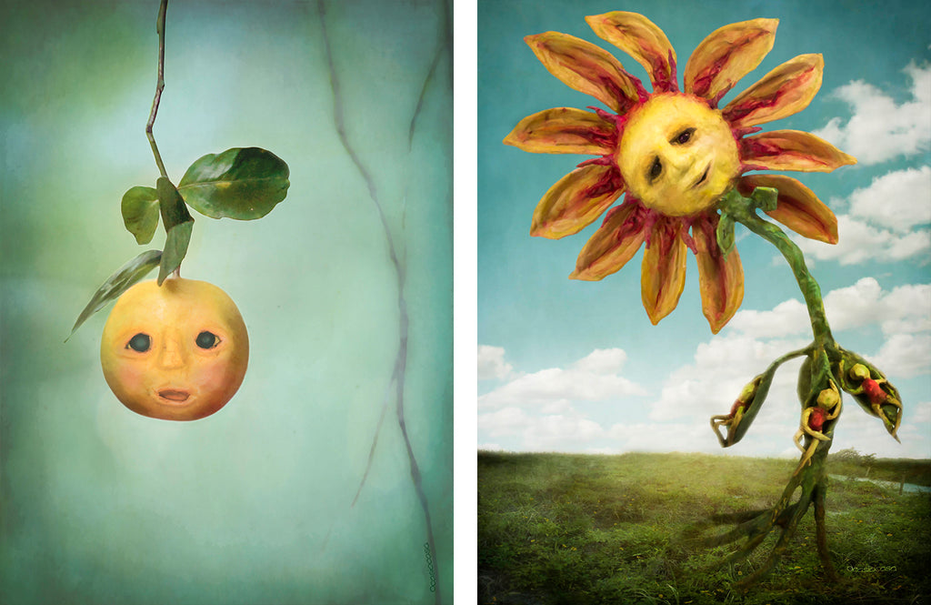 """orange u happy"" and ""summertime"" digital art illustrative photomontage"
