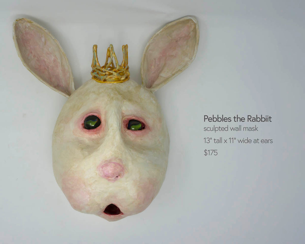 pebbles the rabbit sculpted wall mask