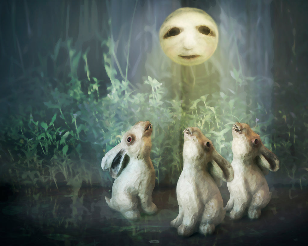 rabbit howls digital art illustrative photomontage