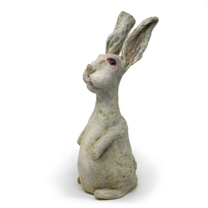 original, one-of-a-kind, hand-sculpted & painted white, scruffy rabbit