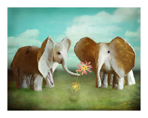 Elephant Love 16 by 20 inches Art Print