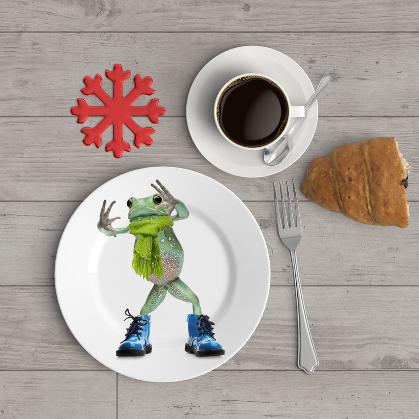 "Holiday Appetizer Plate 6"" -  Finian the Frog - Matthew Lew Art Print"