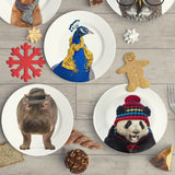 "Holiday Appetizer Plate 6"" -  Harold the Hippo - Matthew Lew Art Print"
