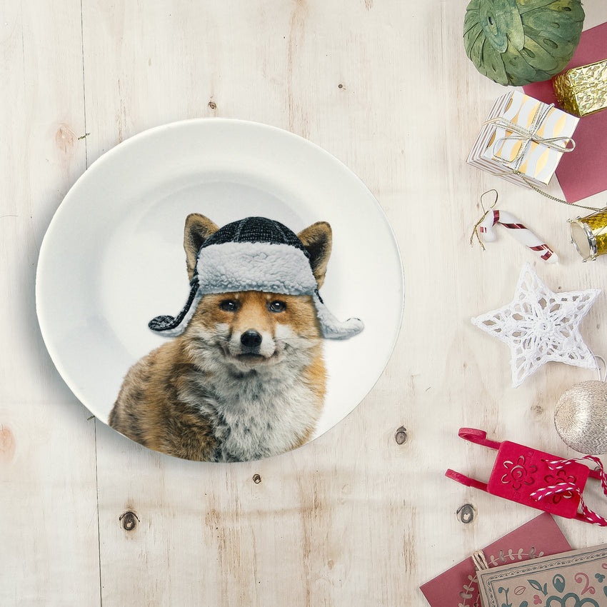 "Holiday Appetizer Plate 6"" - Felix the Fox - Matthew Lew Art Print"