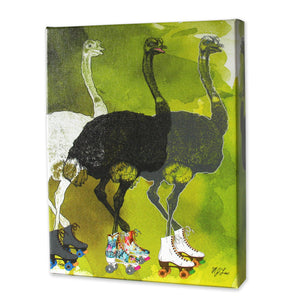 Ostriches On Skates Print - Matthew Lew Art Print