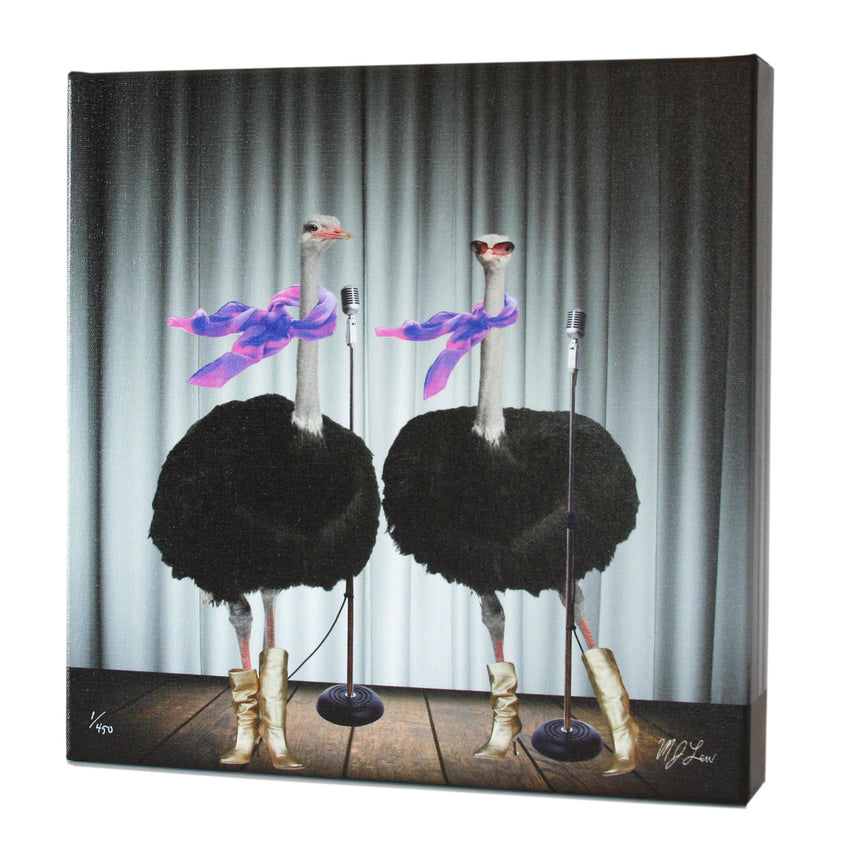 Animal Band: Olive & Opal Ostrich Print - Matthew Lew Art Print