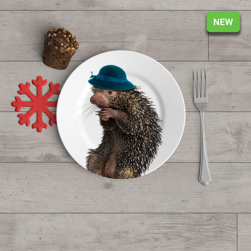 "Holiday Appetizer Plate 6"" -  Priscilla the Porcupine - Matthew Lew Art Print"