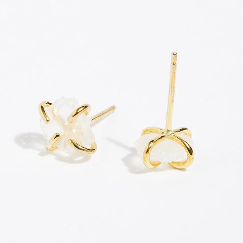 Crystal Quartz Gold Prong Stud Earrings