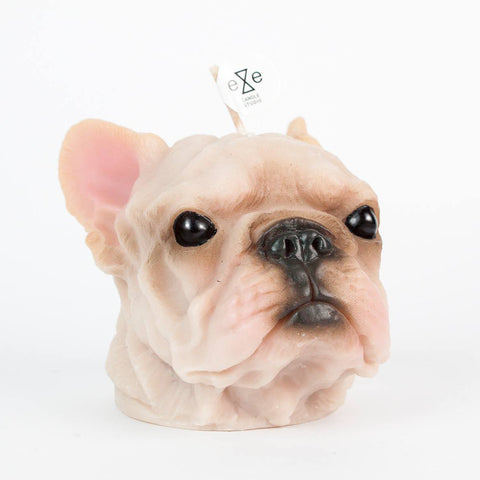 Painted French Bulldog Candle