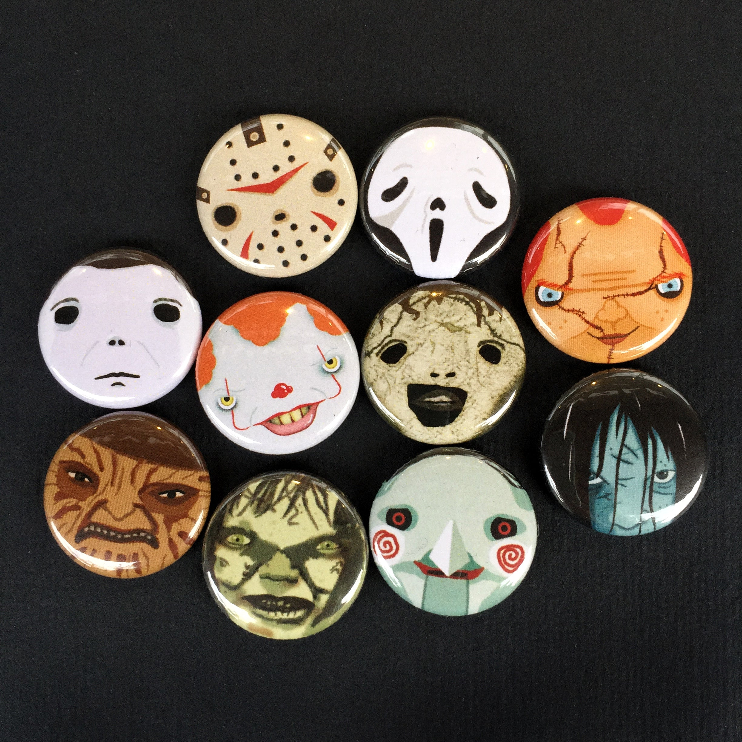 "Halloween Horror Cute Killers 1"" Button and Magnet Sets"