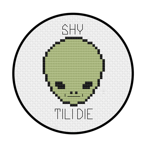 Shy Guy Alien Cross Stitch Pattern