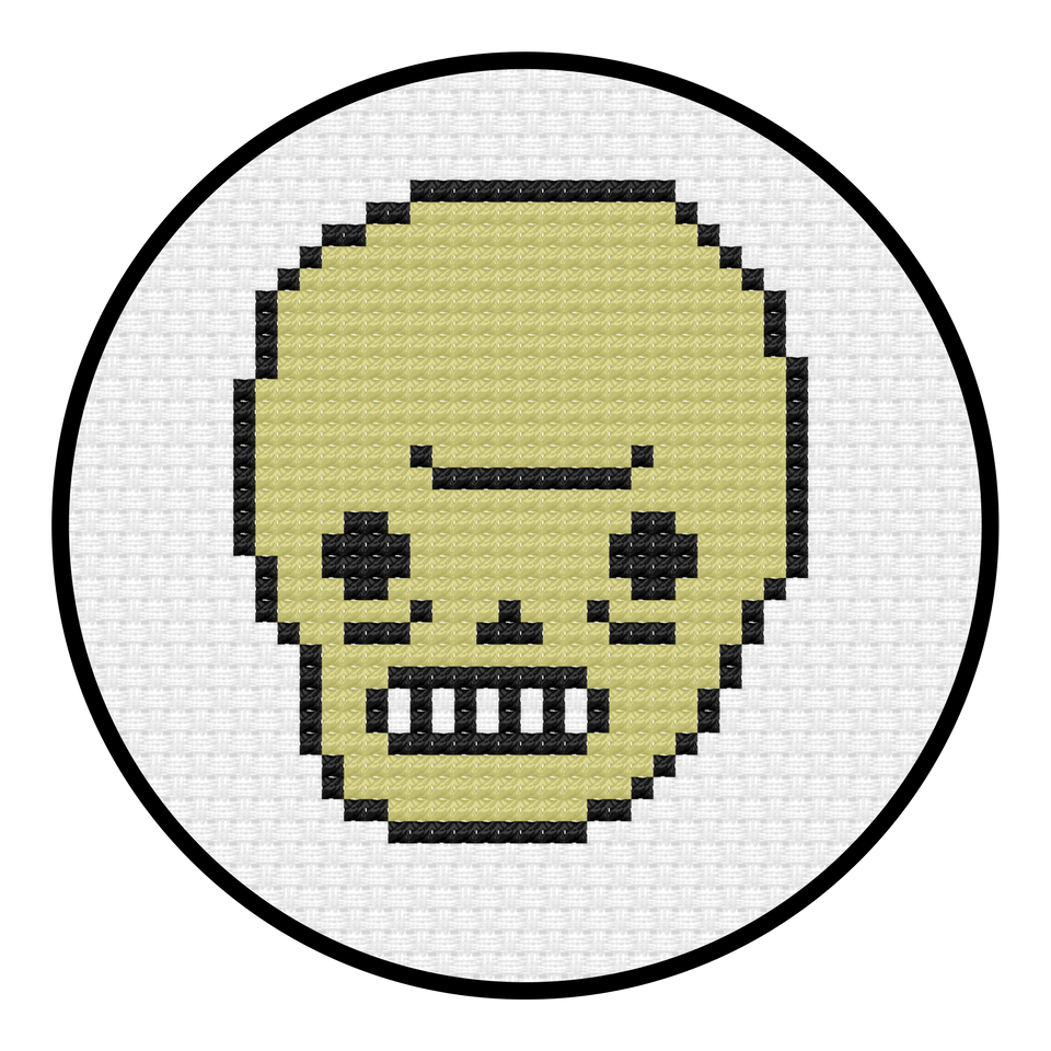 Awkward Skull Cross Stitch Pattern