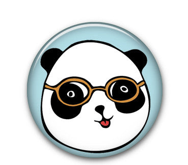 "Panda Glasses 1"" button"