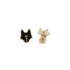Wolf Head Enamel Earrings