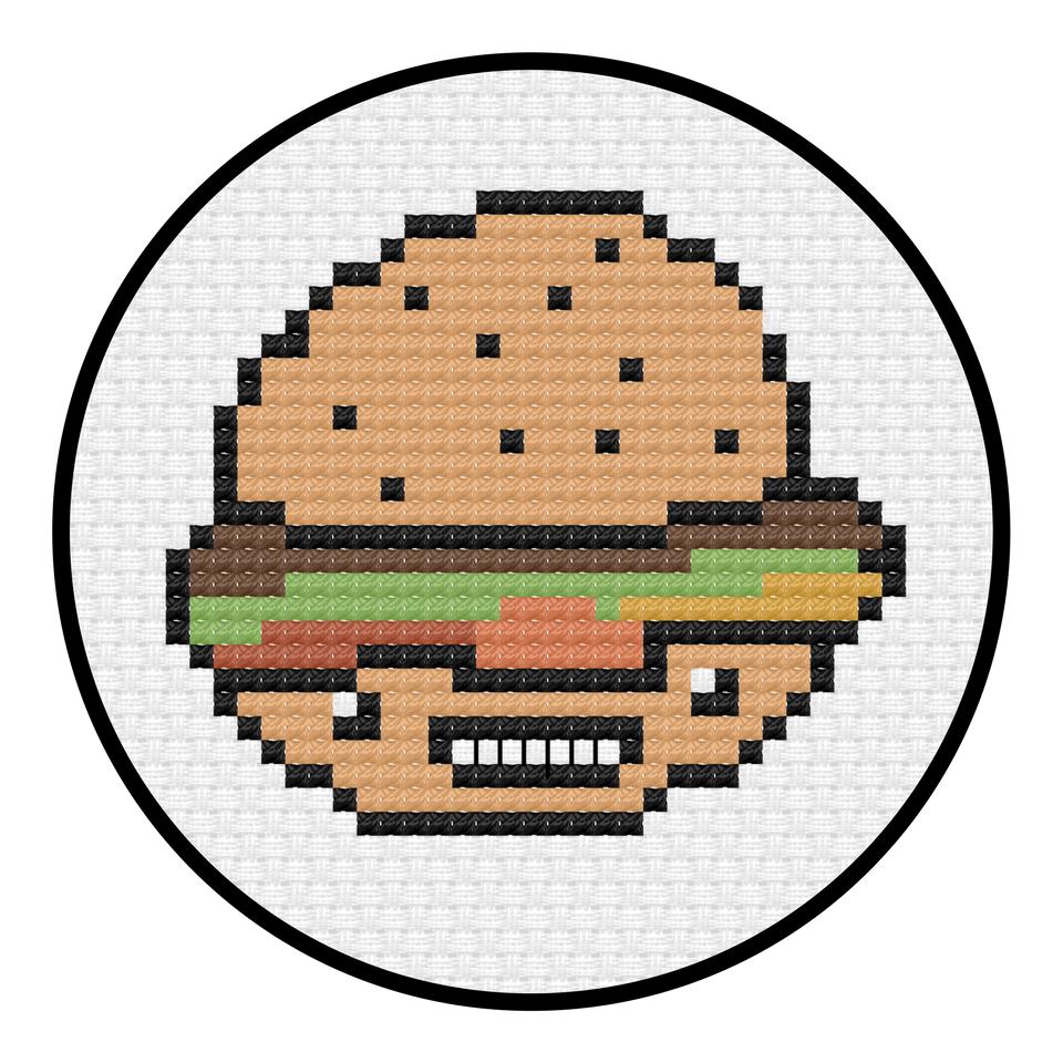 Hammy Burger Cross Stitch Pattern