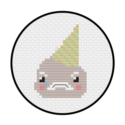 Sad Ice Cream Cross Stitch Pattern
