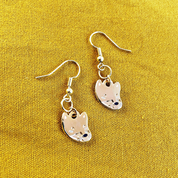Wolf Head Dangly Earrings